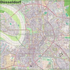 Large detailed map of Düsseldorf