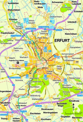 Erfurt area map