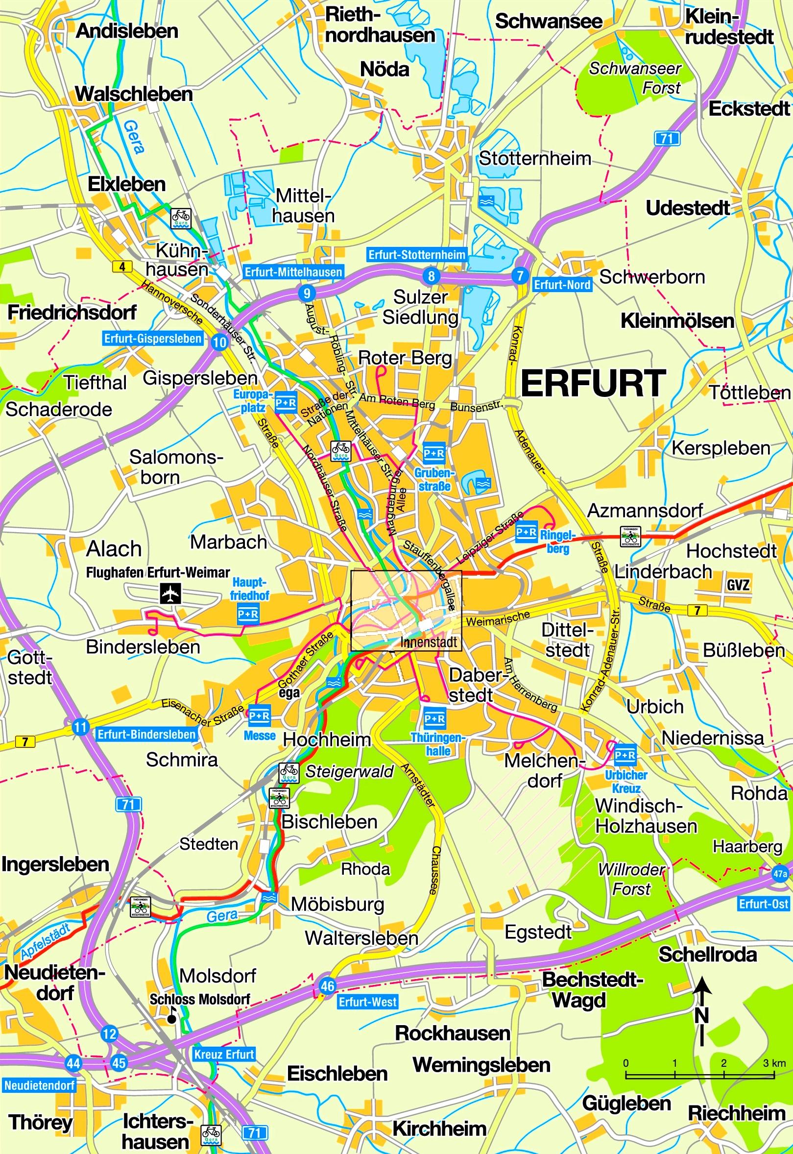 Erfurt area map