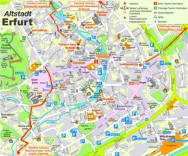 Erfurt city center map