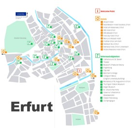 Erfurt hotels and sightseeings map
