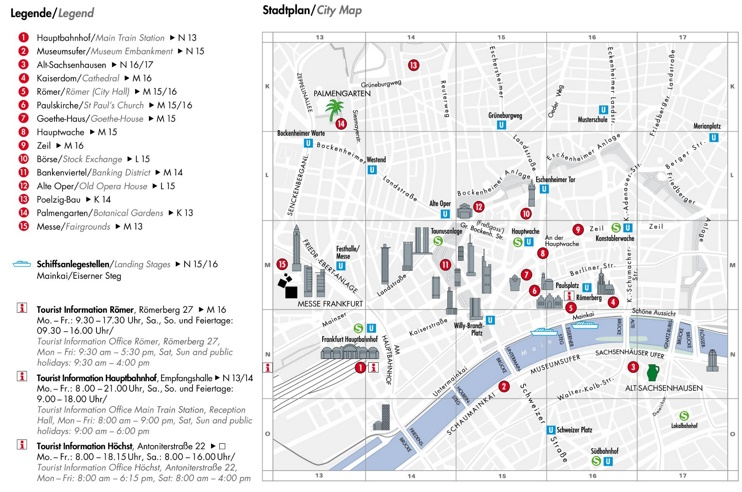 Frankfurt city center map