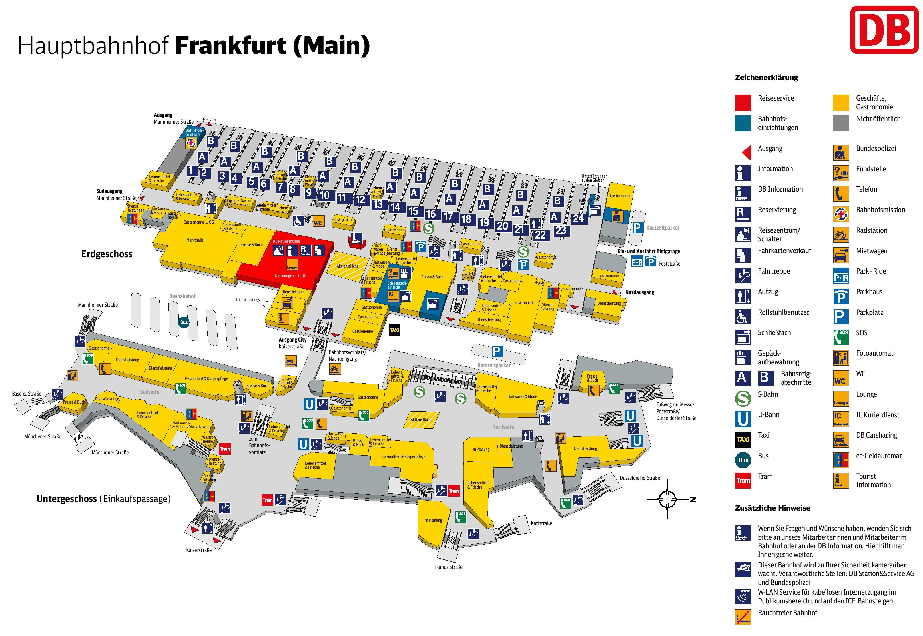 Frankfurt hauptbahnhof map central train station