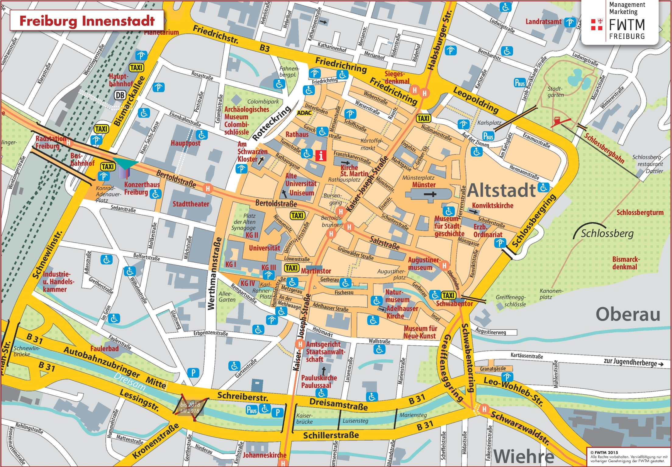 Freiburg city center map