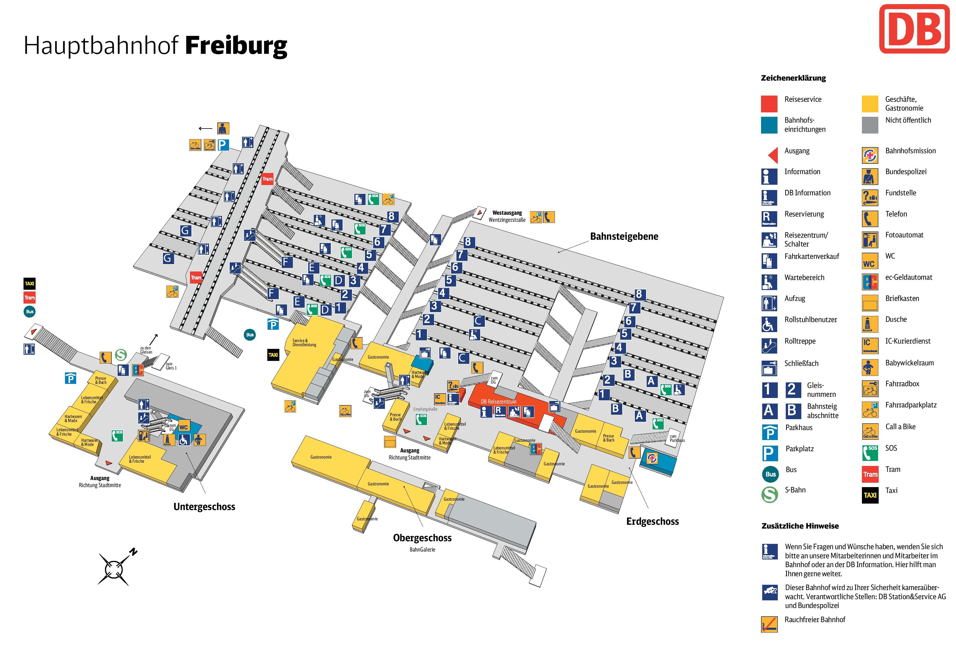 Freiburg hauptbahnhof map central train station
