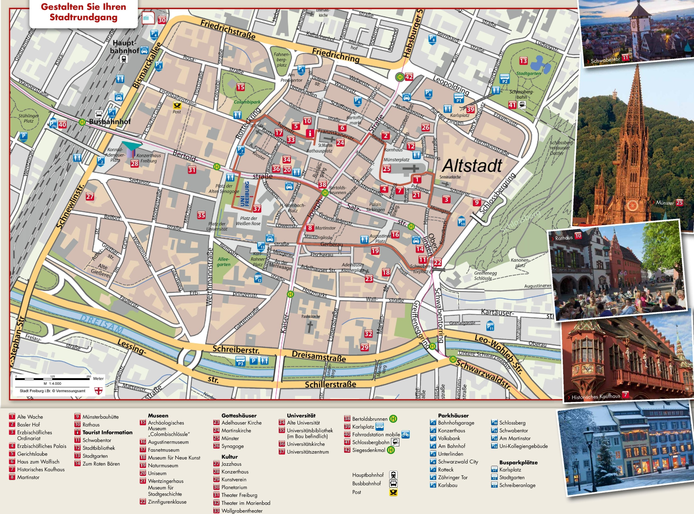 Freiburg tourist attractions map