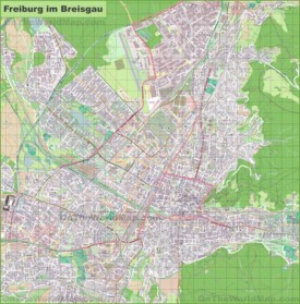 Large detailed map of Freiburg
