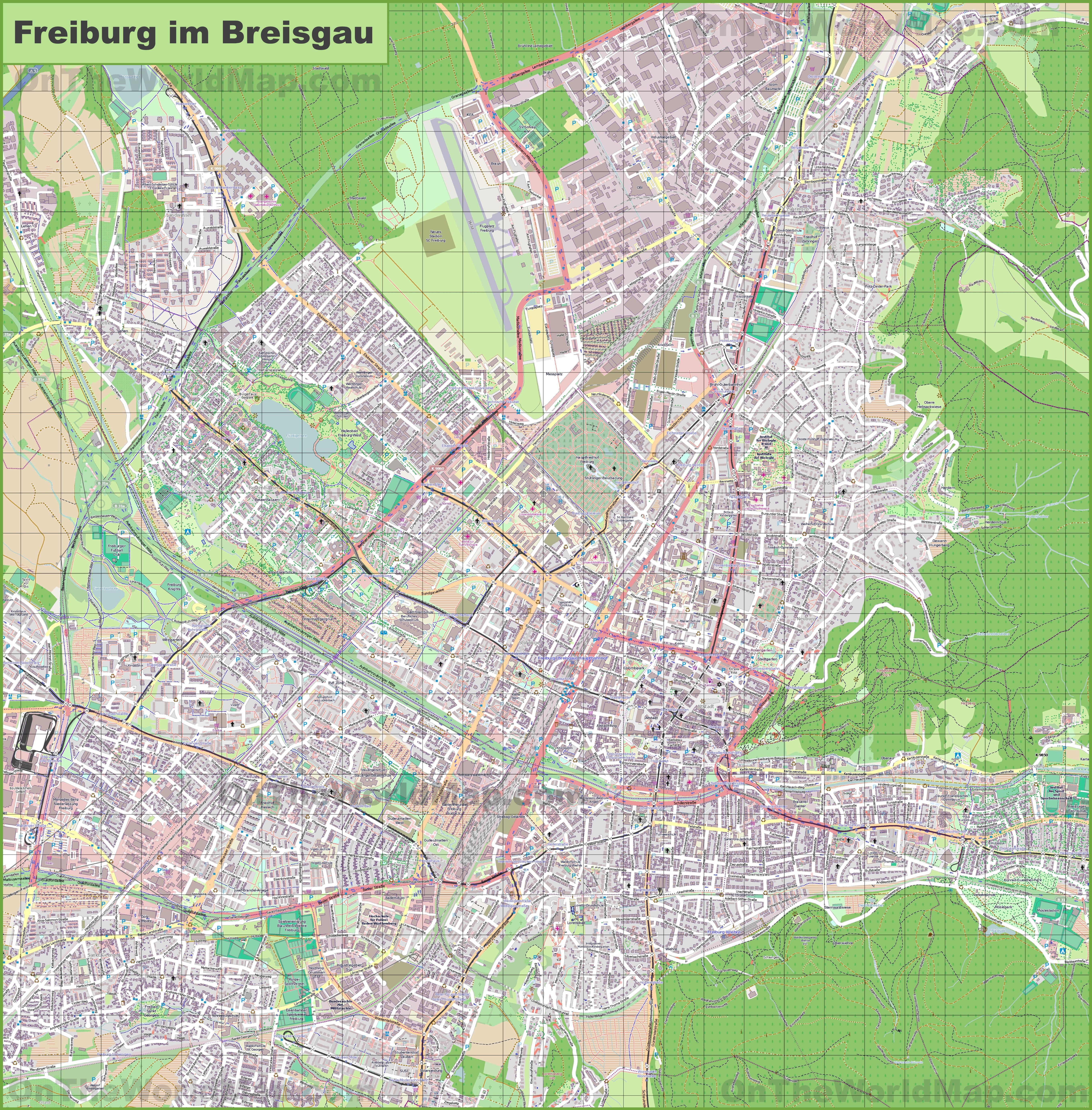 Large detailed map of Freiburg