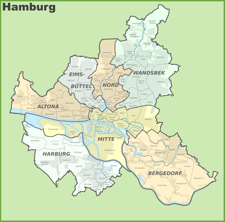 Map Of Hamburg Germany Administrative divisions map of Hamburg