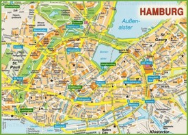 Hamburg city centre map