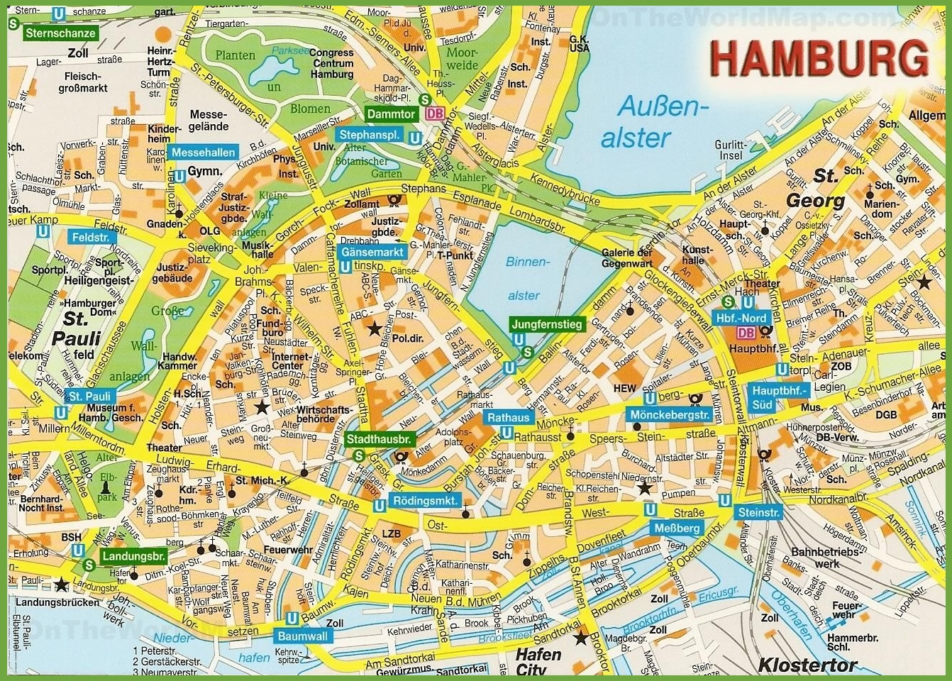 hamburg city centre map. Black Bedroom Furniture Sets. Home Design Ideas