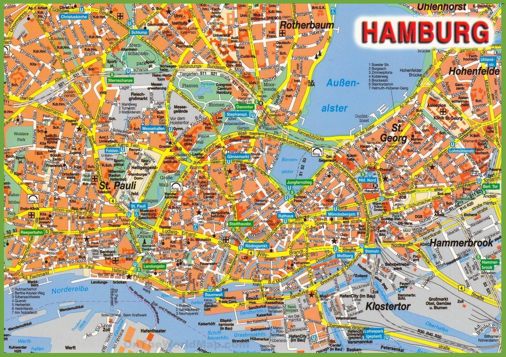 Hamburg tourist attractions map – Germany Tourist Attractions Map