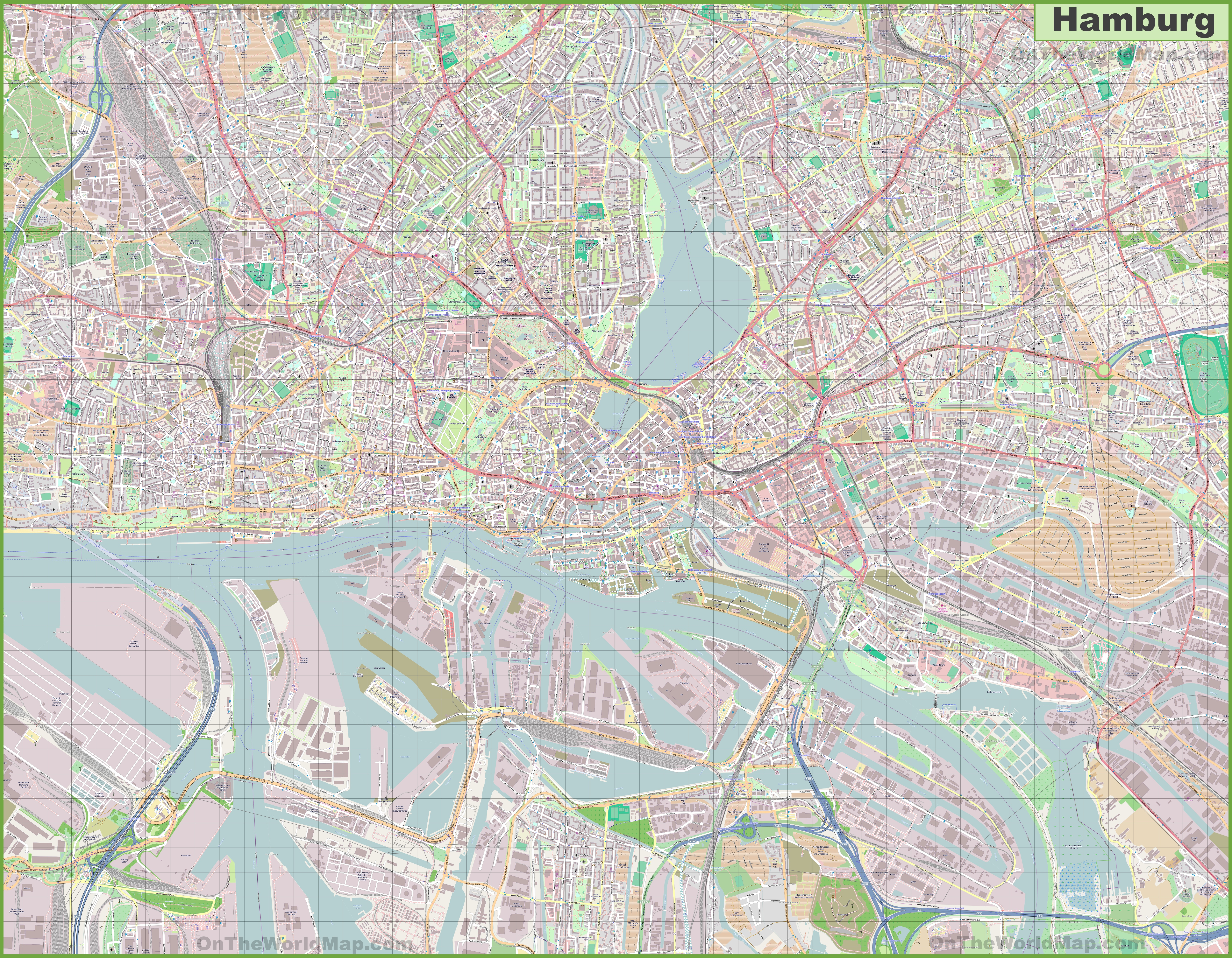 Large detailed map of Hamburg