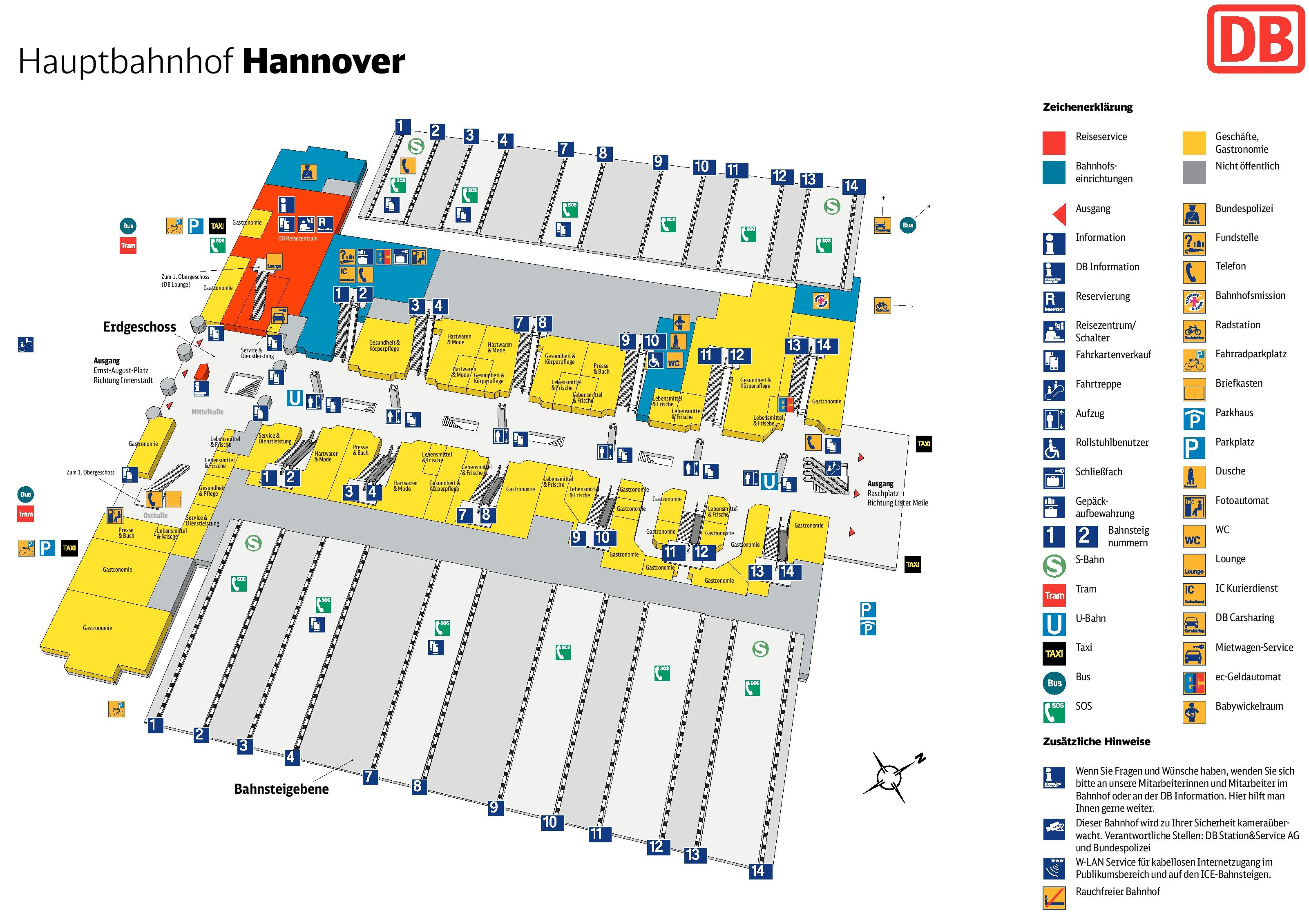 Hannover hauptbahnhof map central train station