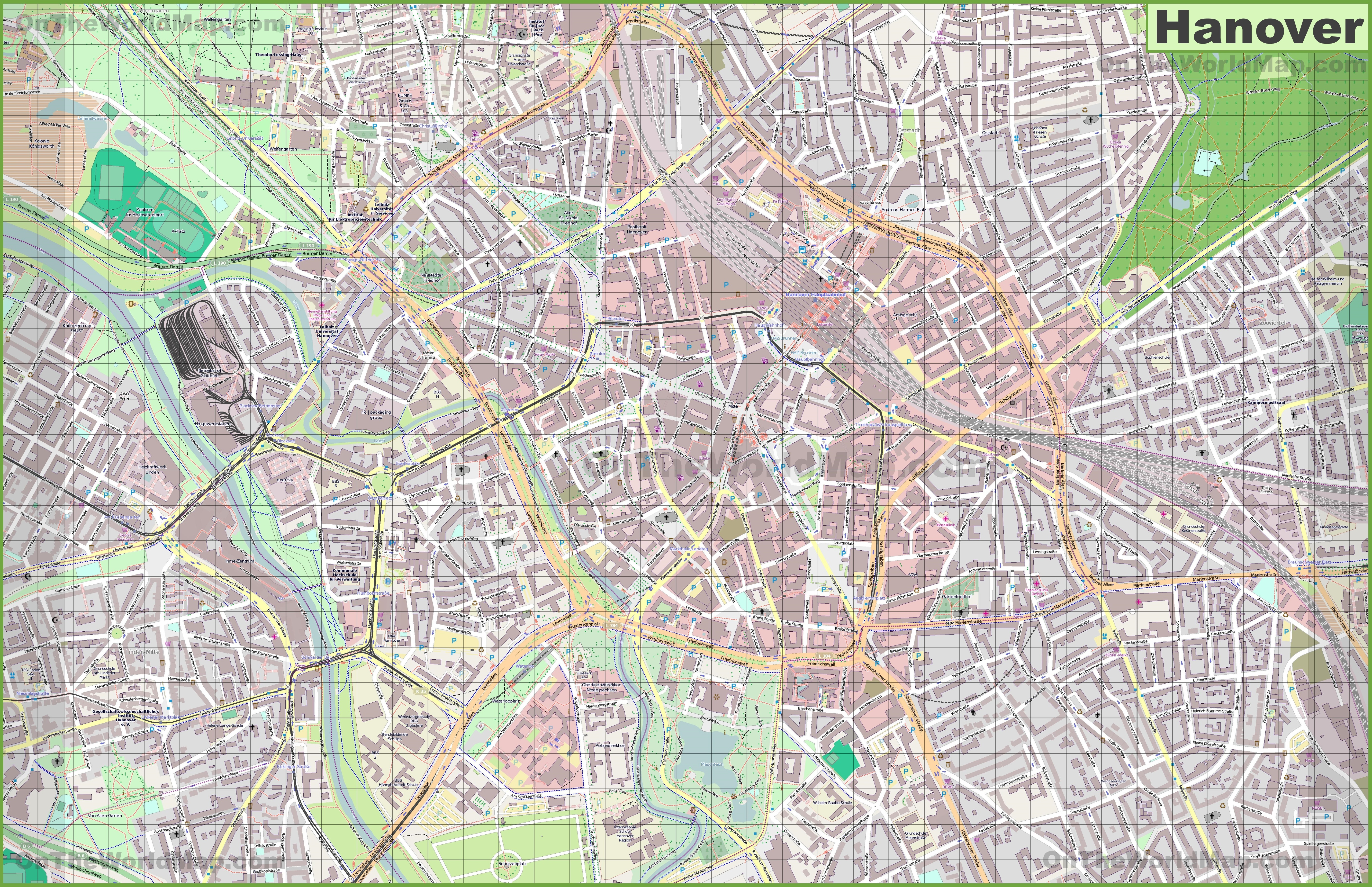 Large detailed map of Hannover