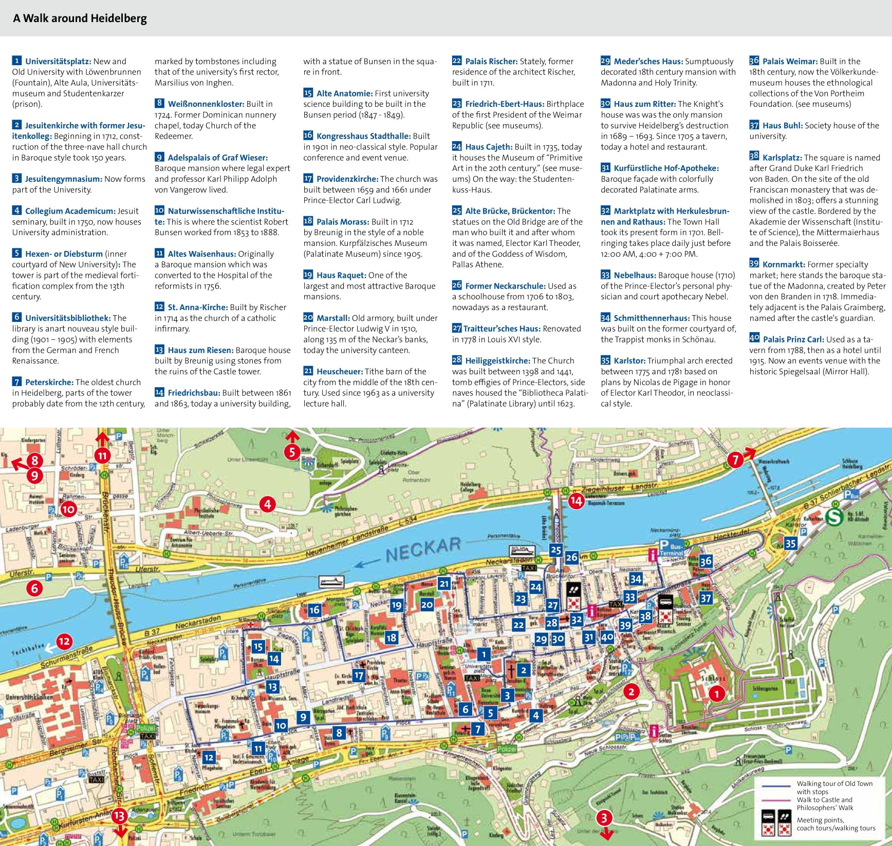 Heidelberg tourist attractions map