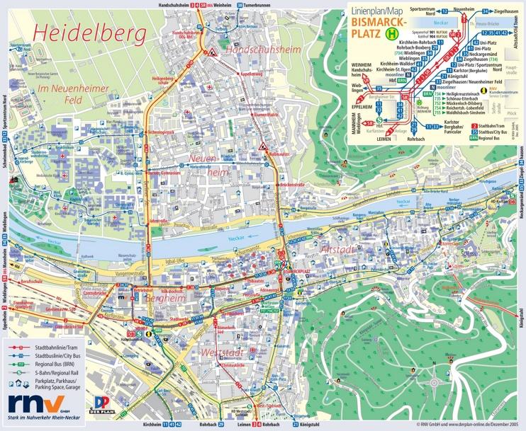 Heidelberg tourist map