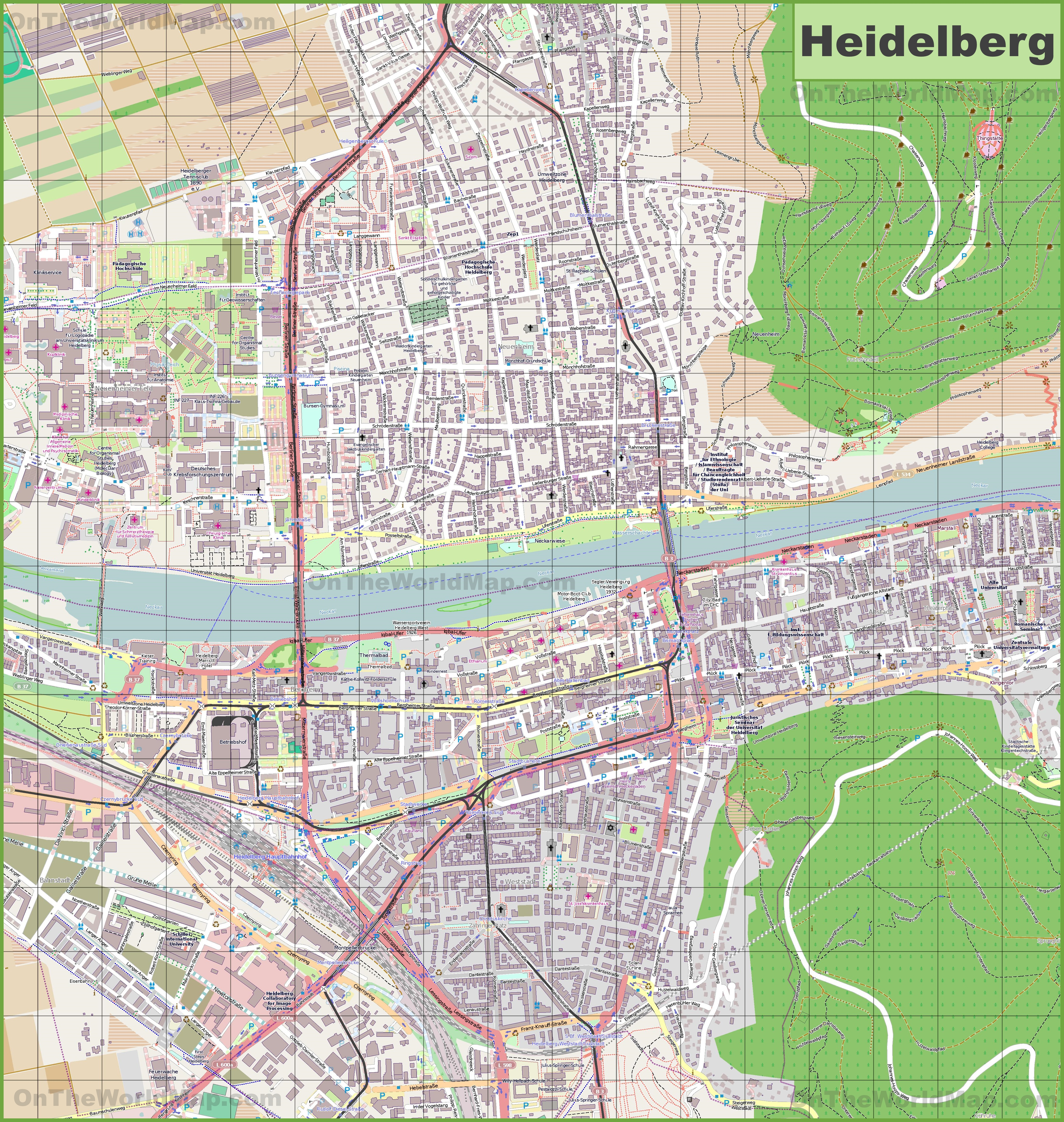 Large detailed map of Heidelberg