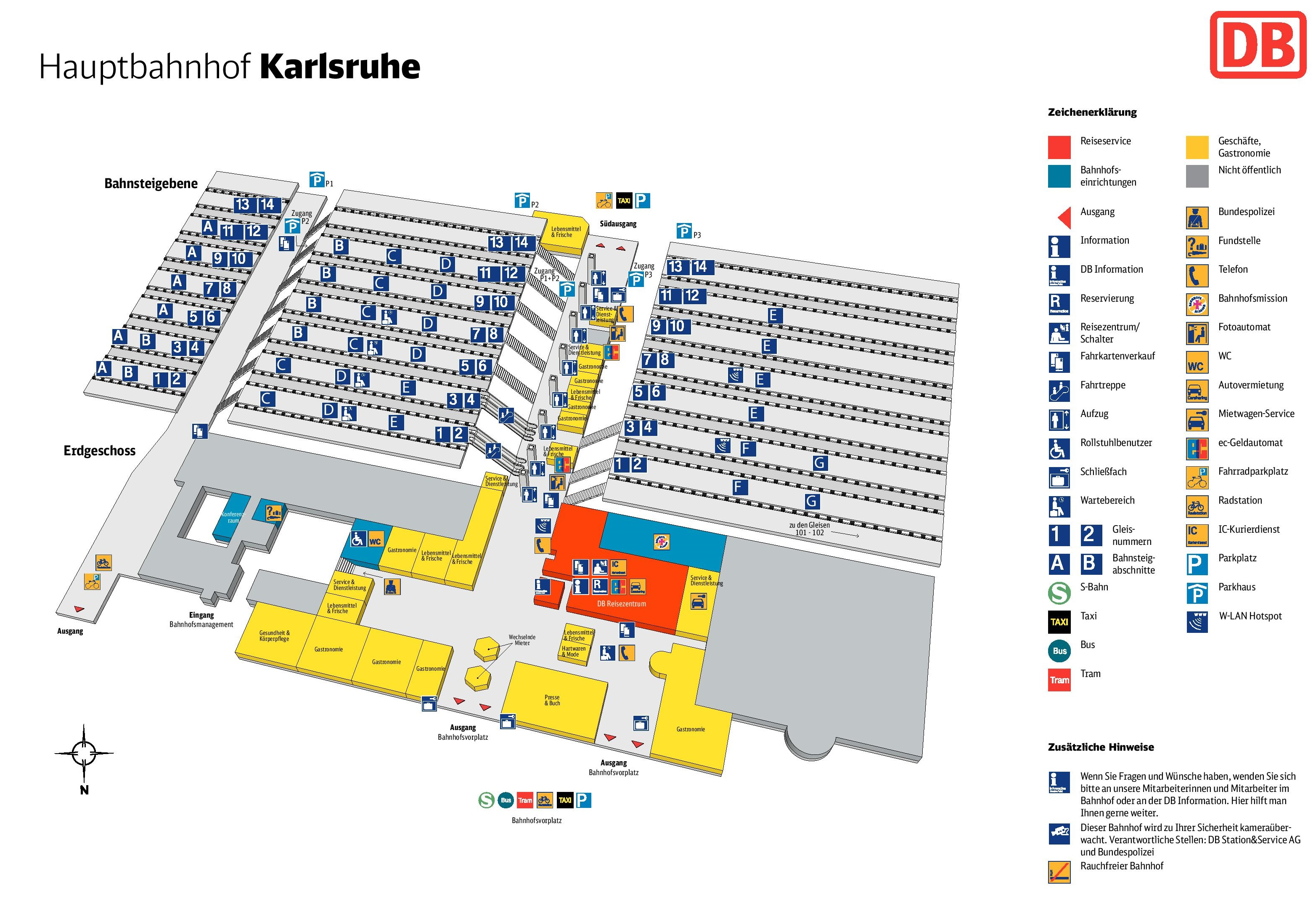 Karlsruhe hauptbahnhof map central train station