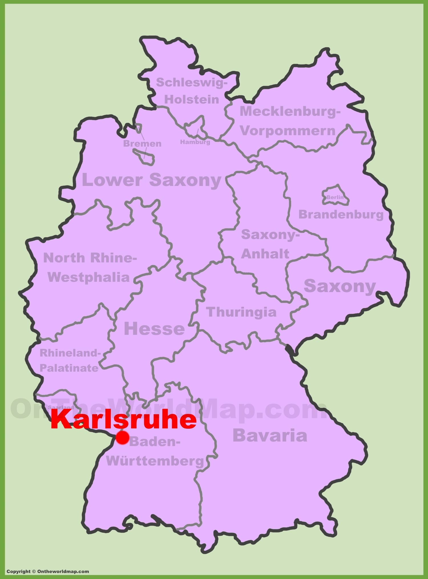 karlsruhe location on the germany map
