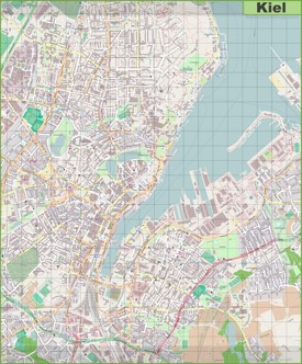 Large detailed map of Kiel