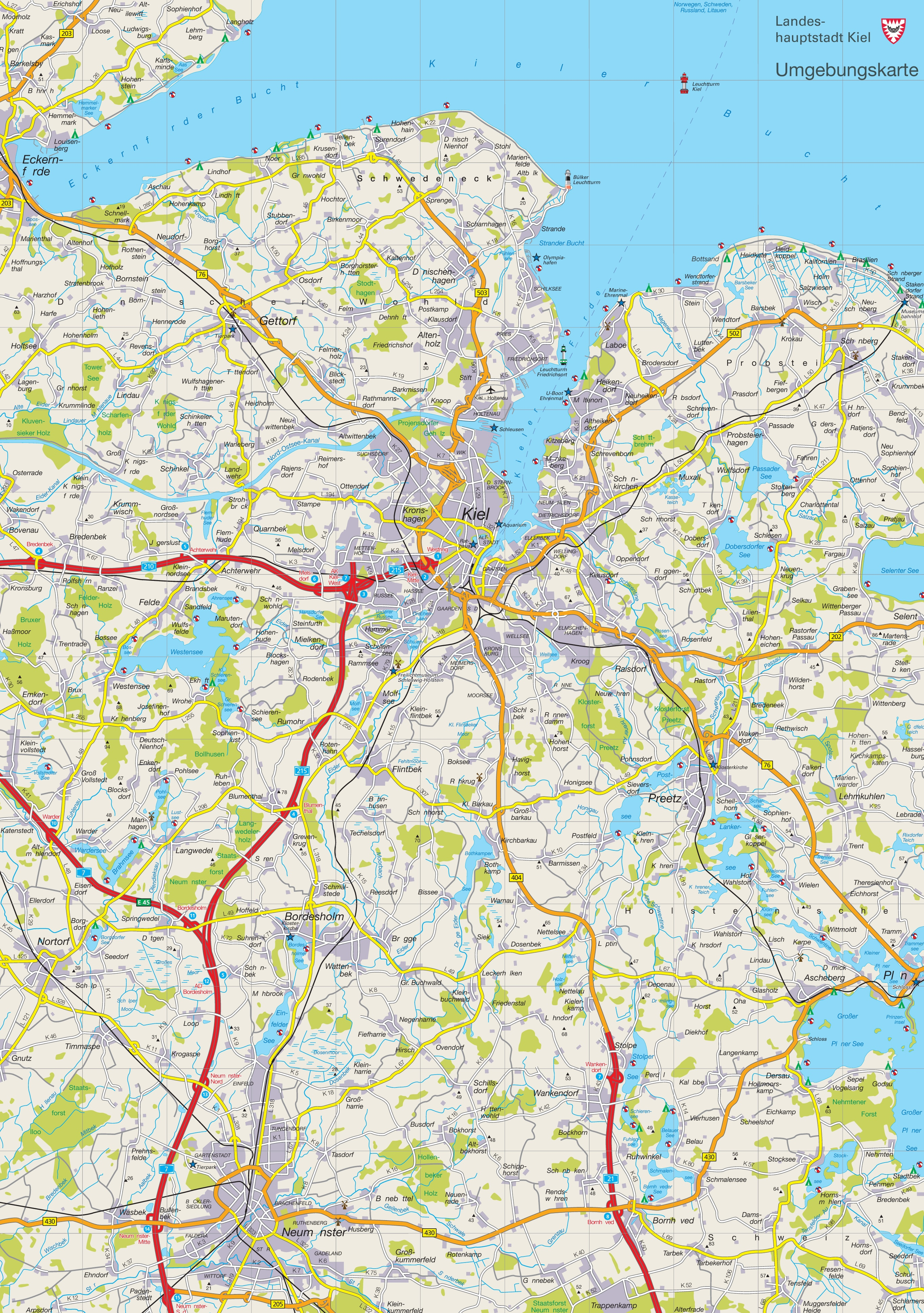 Map of surroundings of Kiel