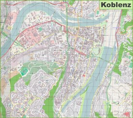 Large detailed map of Koblenz