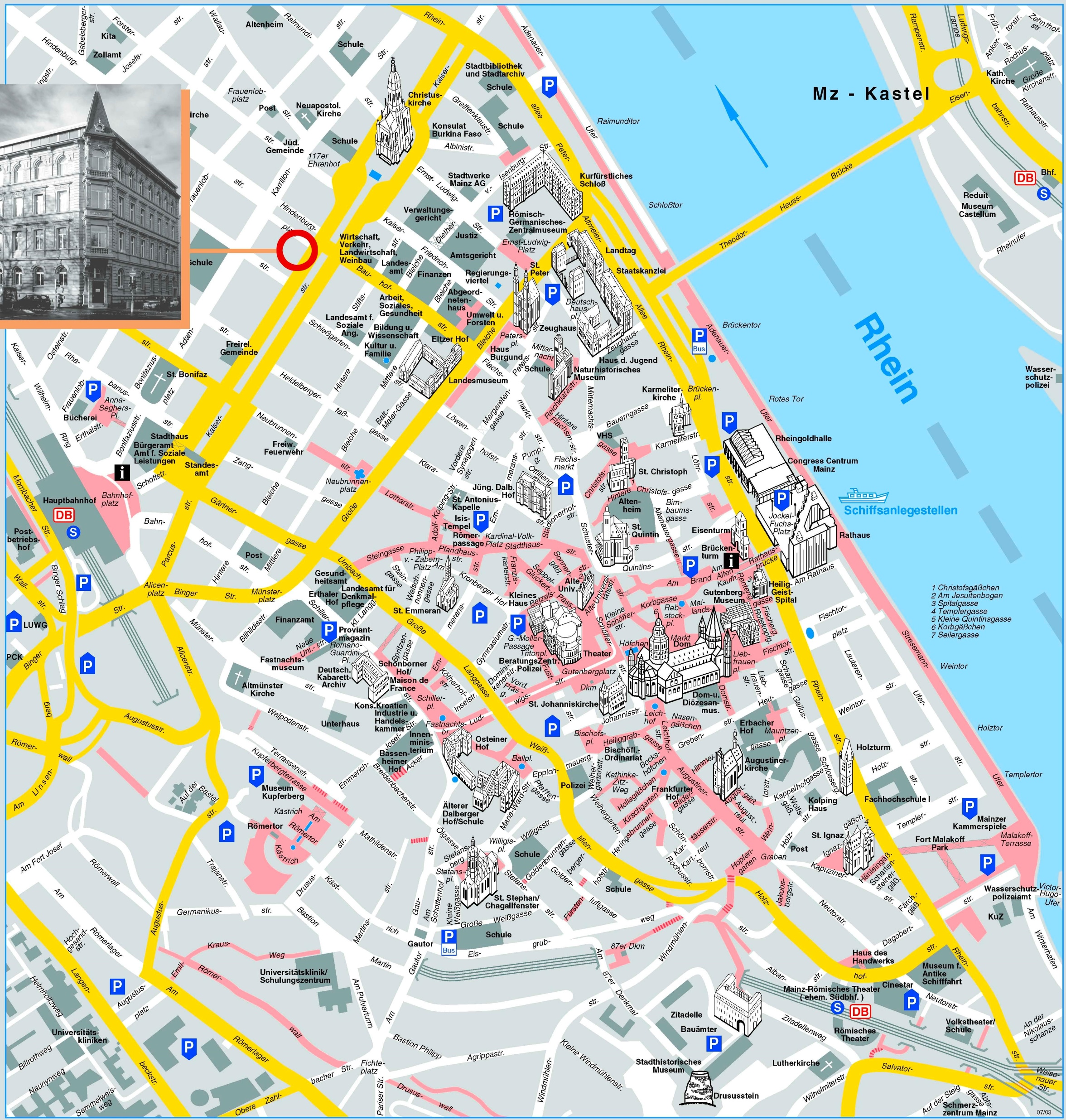 Mainz sightseeing map