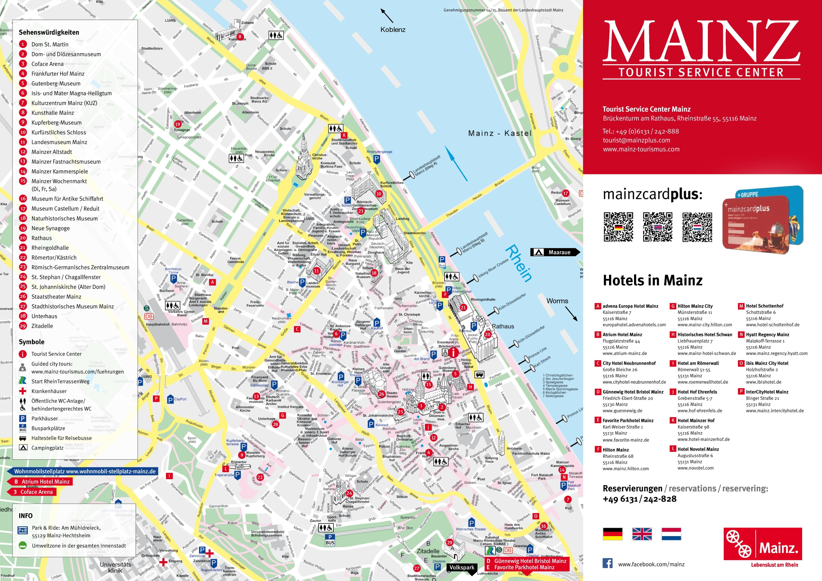 Mainz tourist attractions map – Germany Tourist Attractions Map