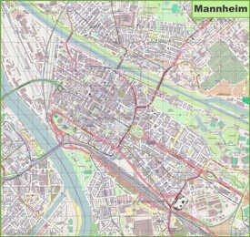 Large detailed map of Mannheim
