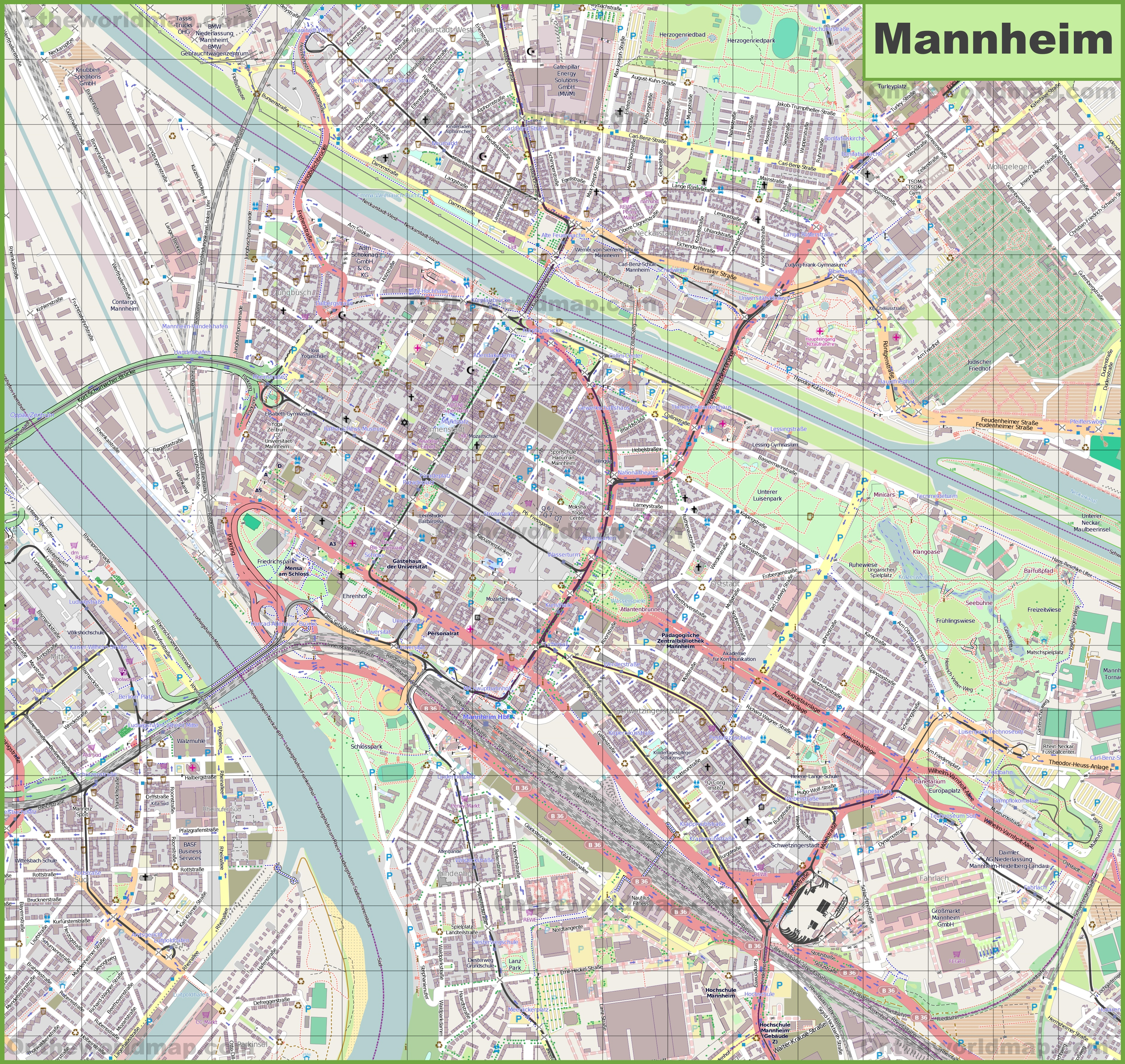 Map Of Germany Mannheim.Large Detailed Map Of Mannheim