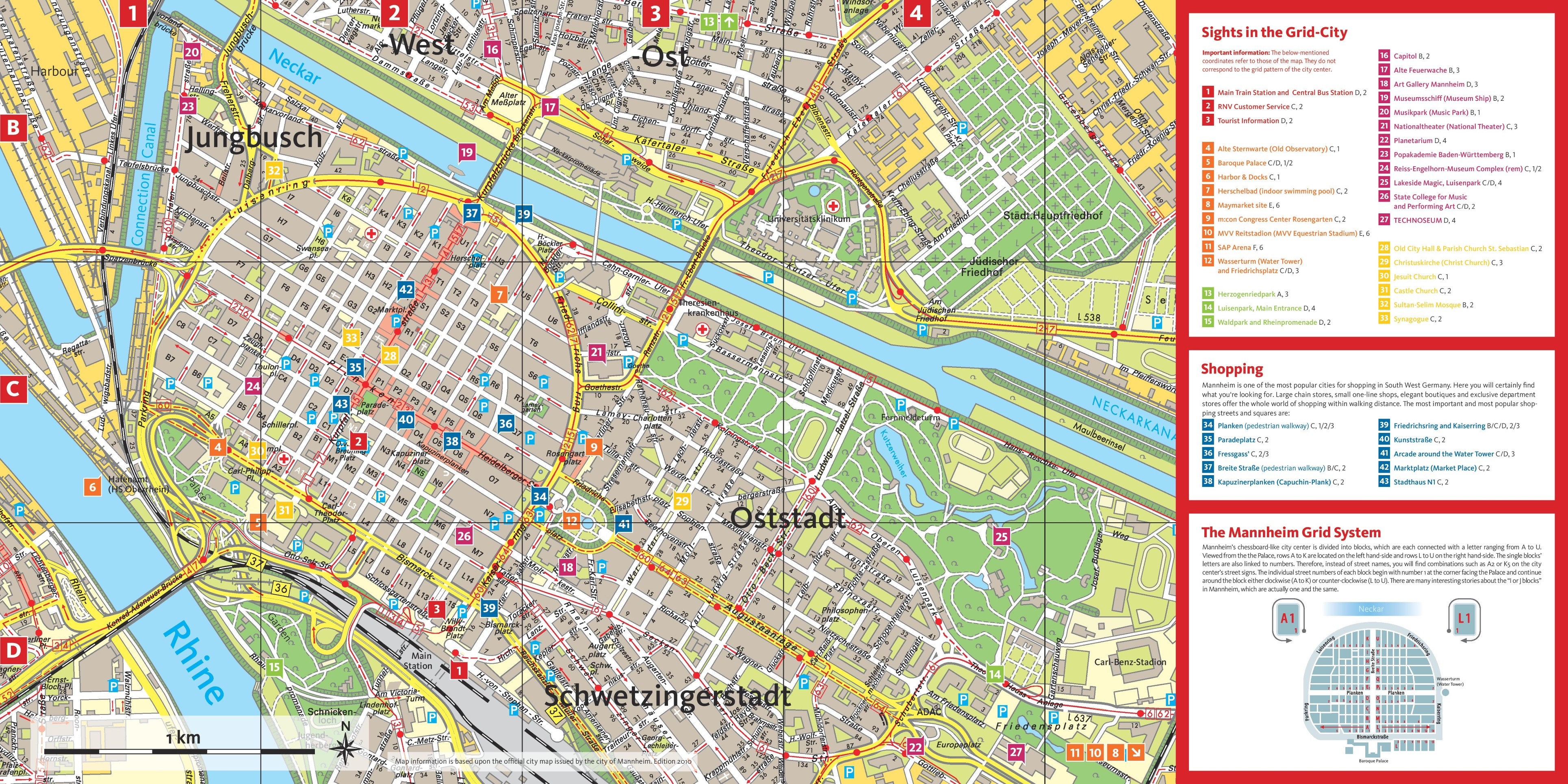 Mannheim tourist attractions map – Germany Tourist Attractions Map