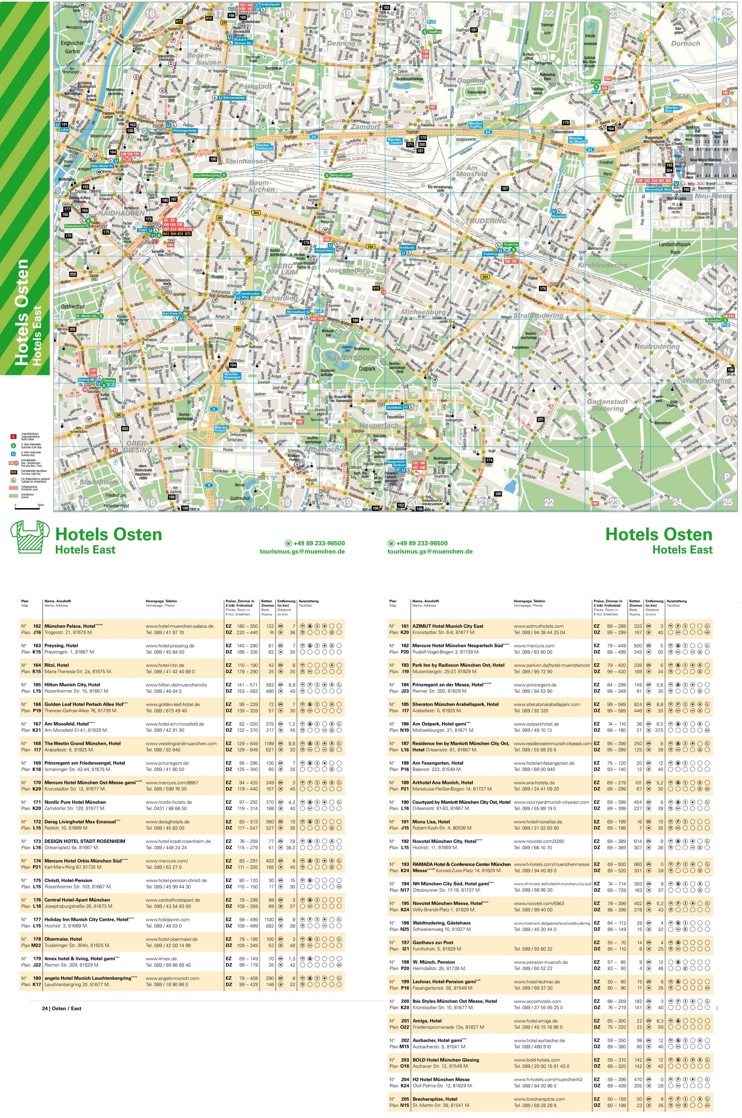 East Munich hotel map