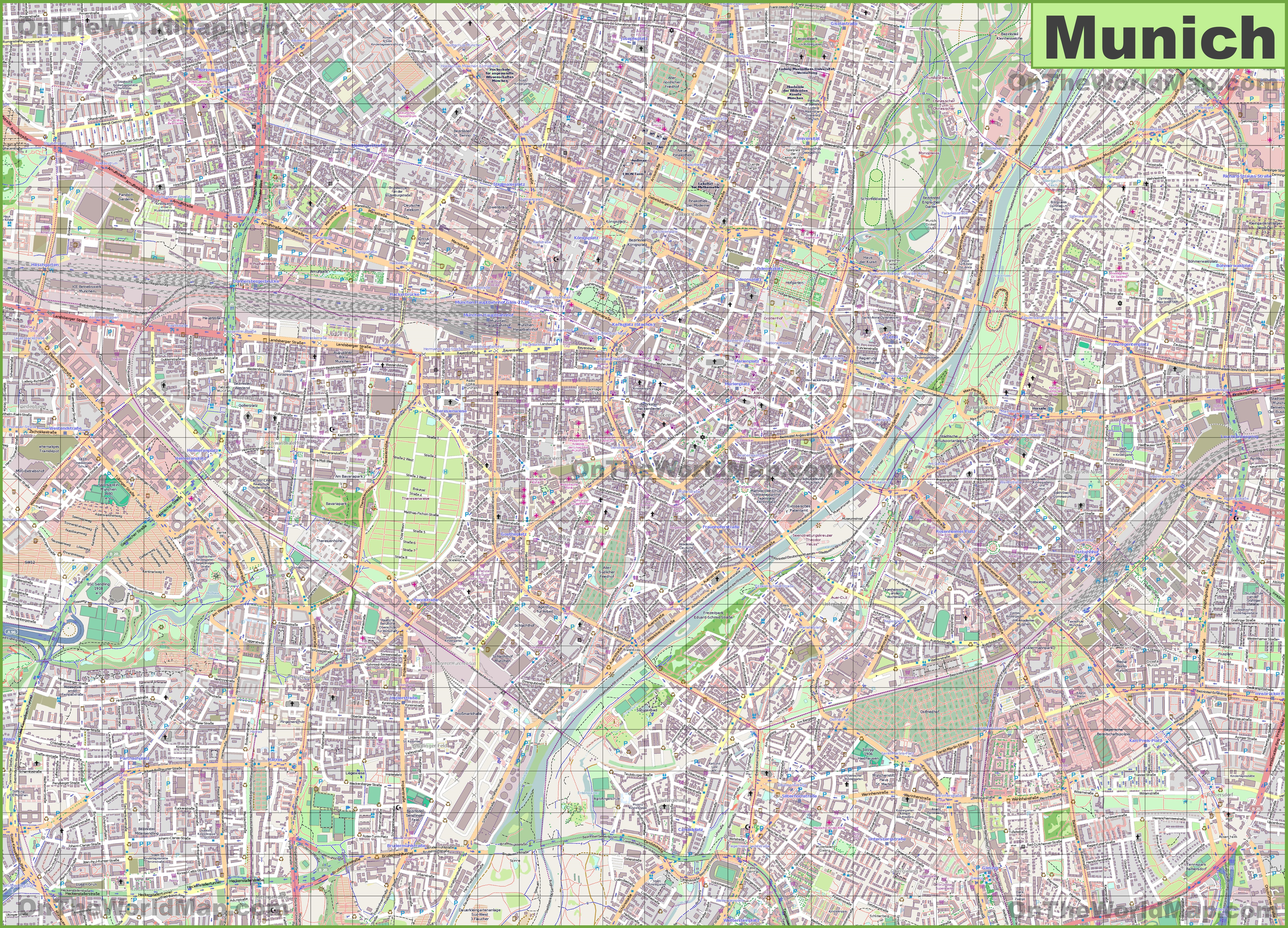 Large detailed map of Munich