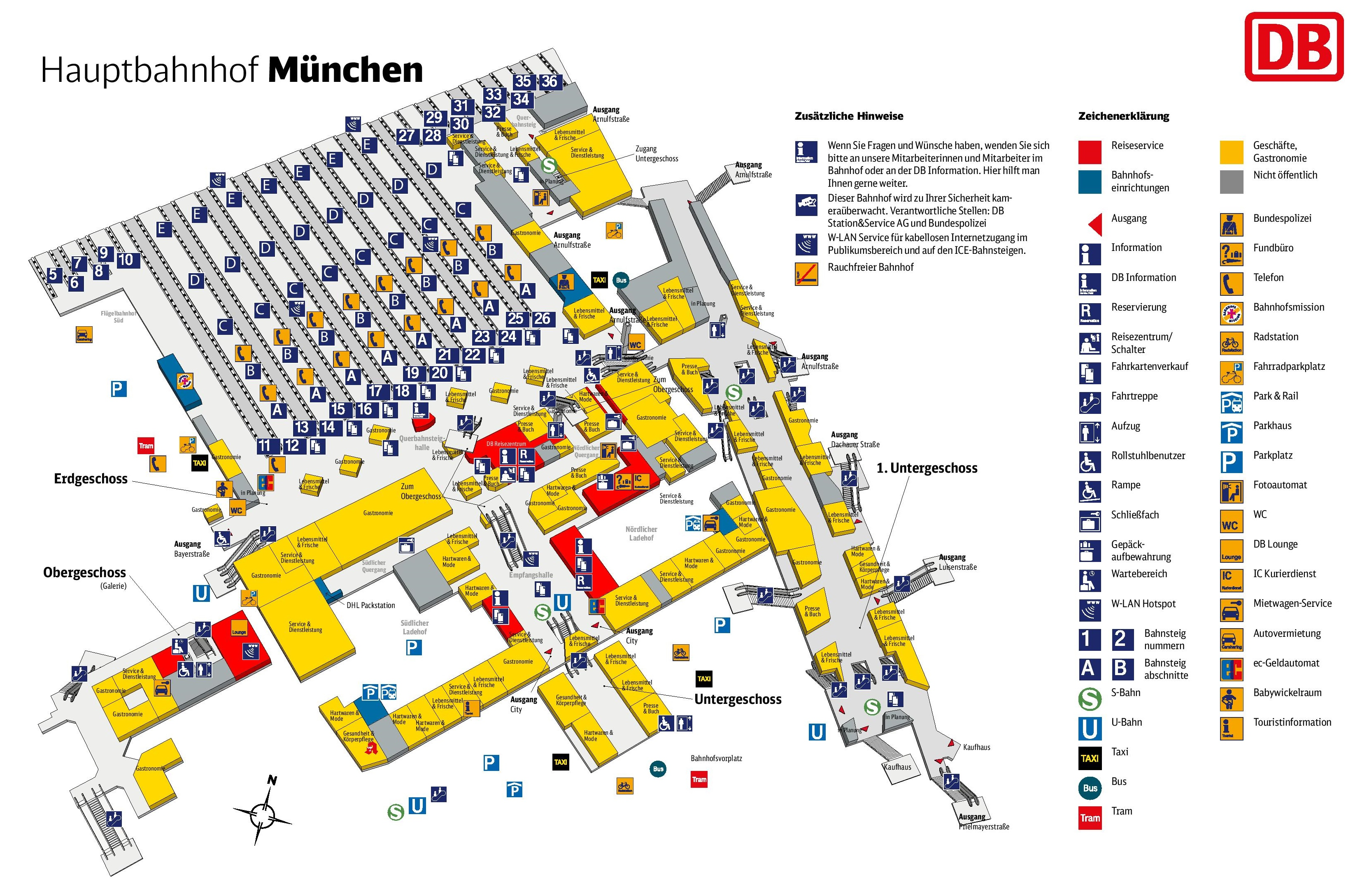 munich hauptbahnhof map central train station. Black Bedroom Furniture Sets. Home Design Ideas
