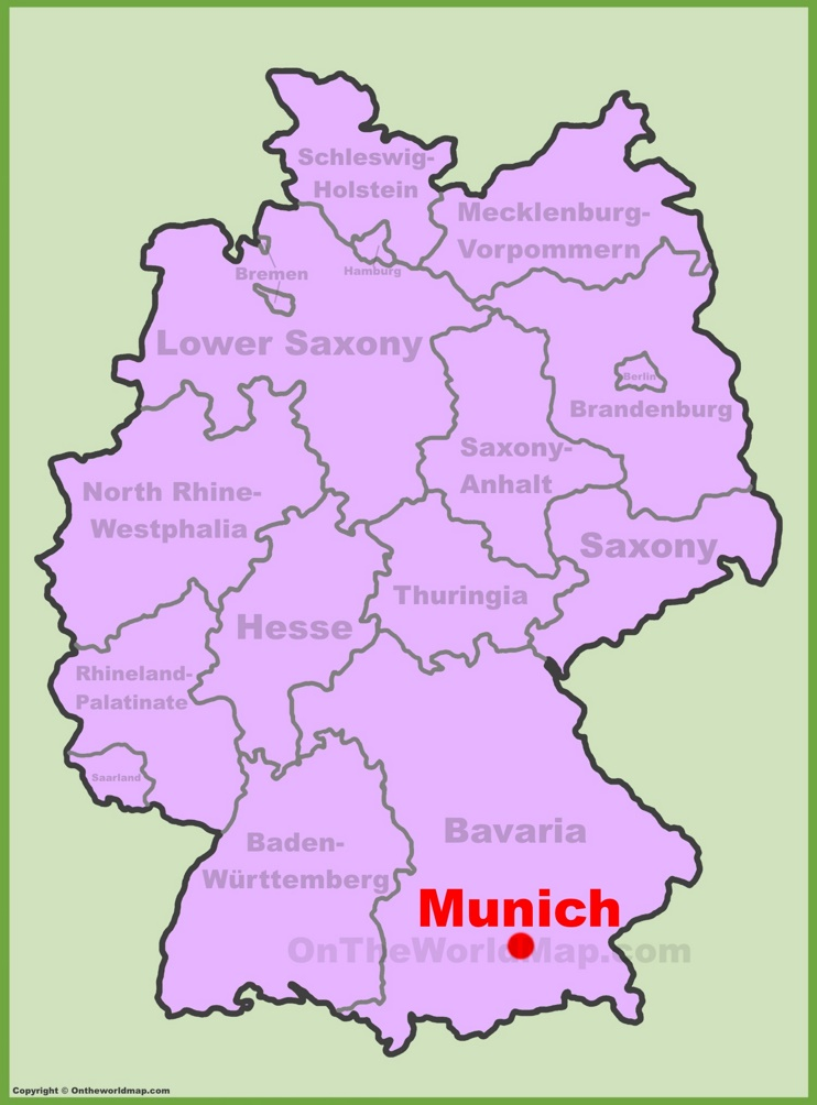 Munich location on the Germany map
