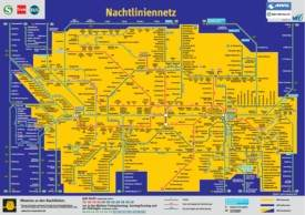 Munich night train, tram and bus map