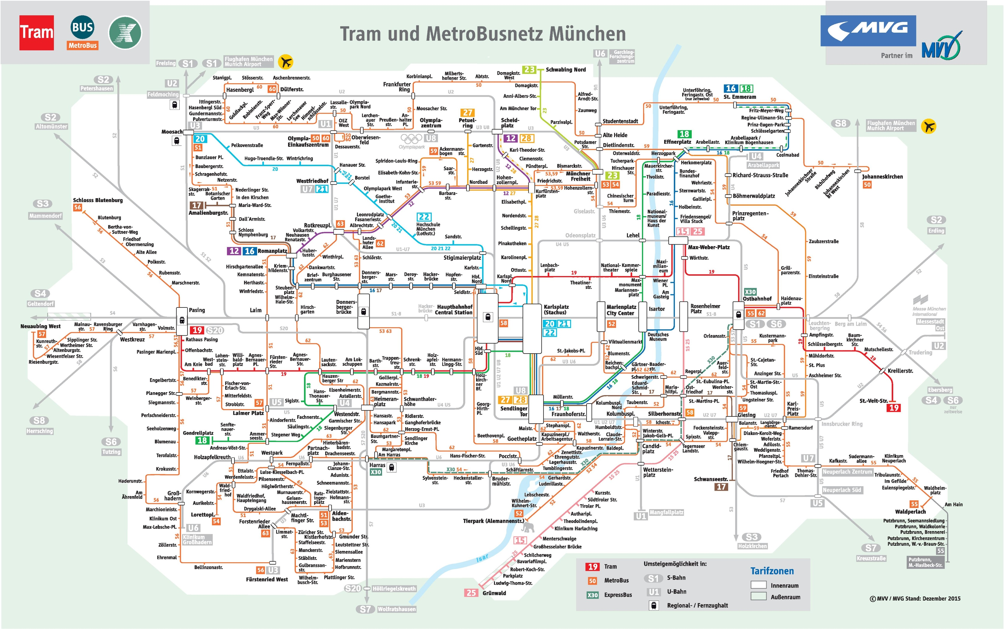 Munich Subway Map.Munich Tram And Bus Map