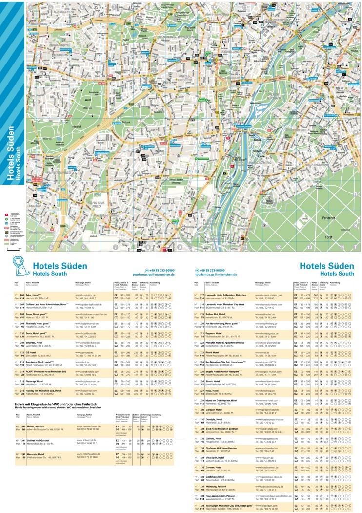 South Munich hotel map