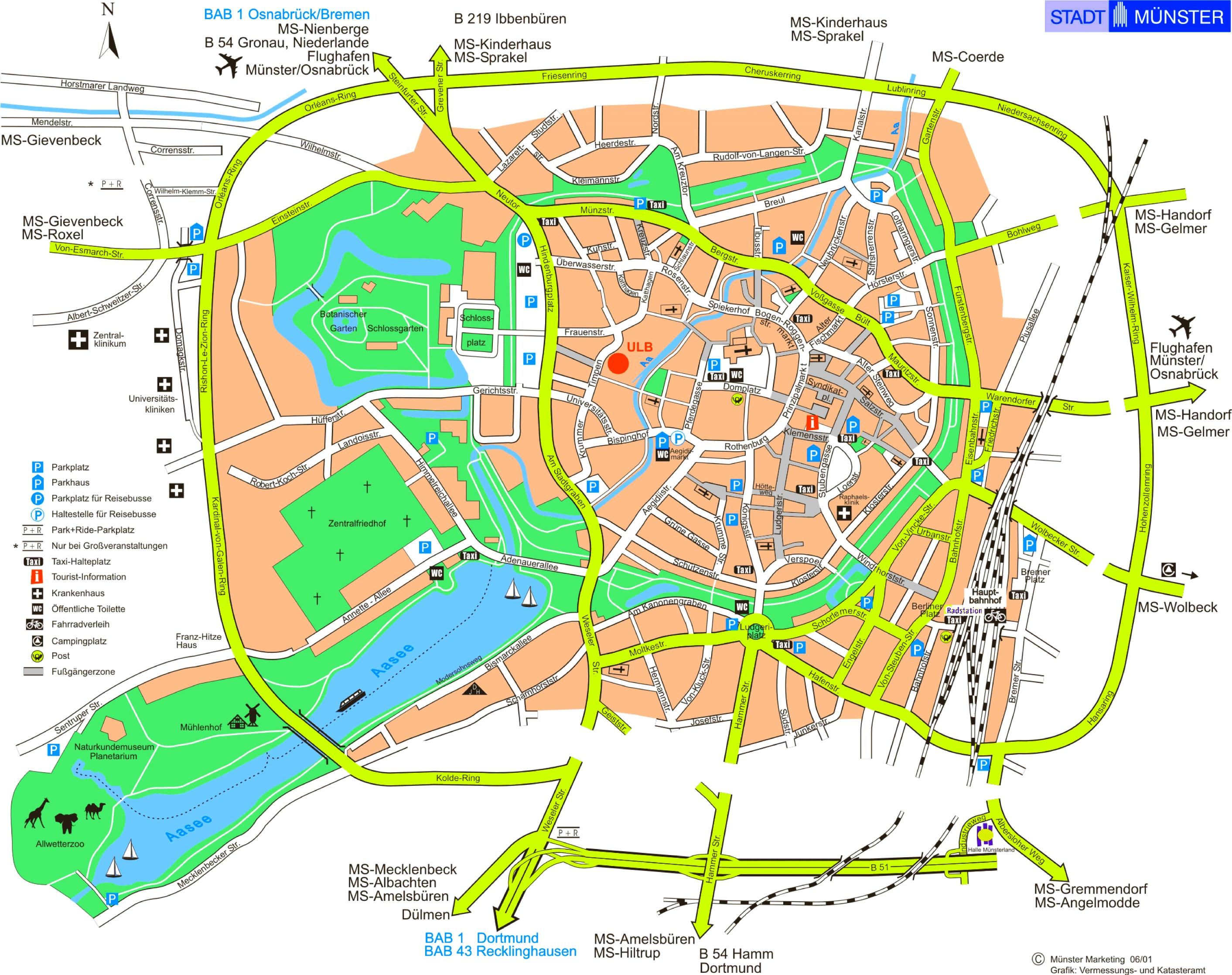 Mnster tourist map