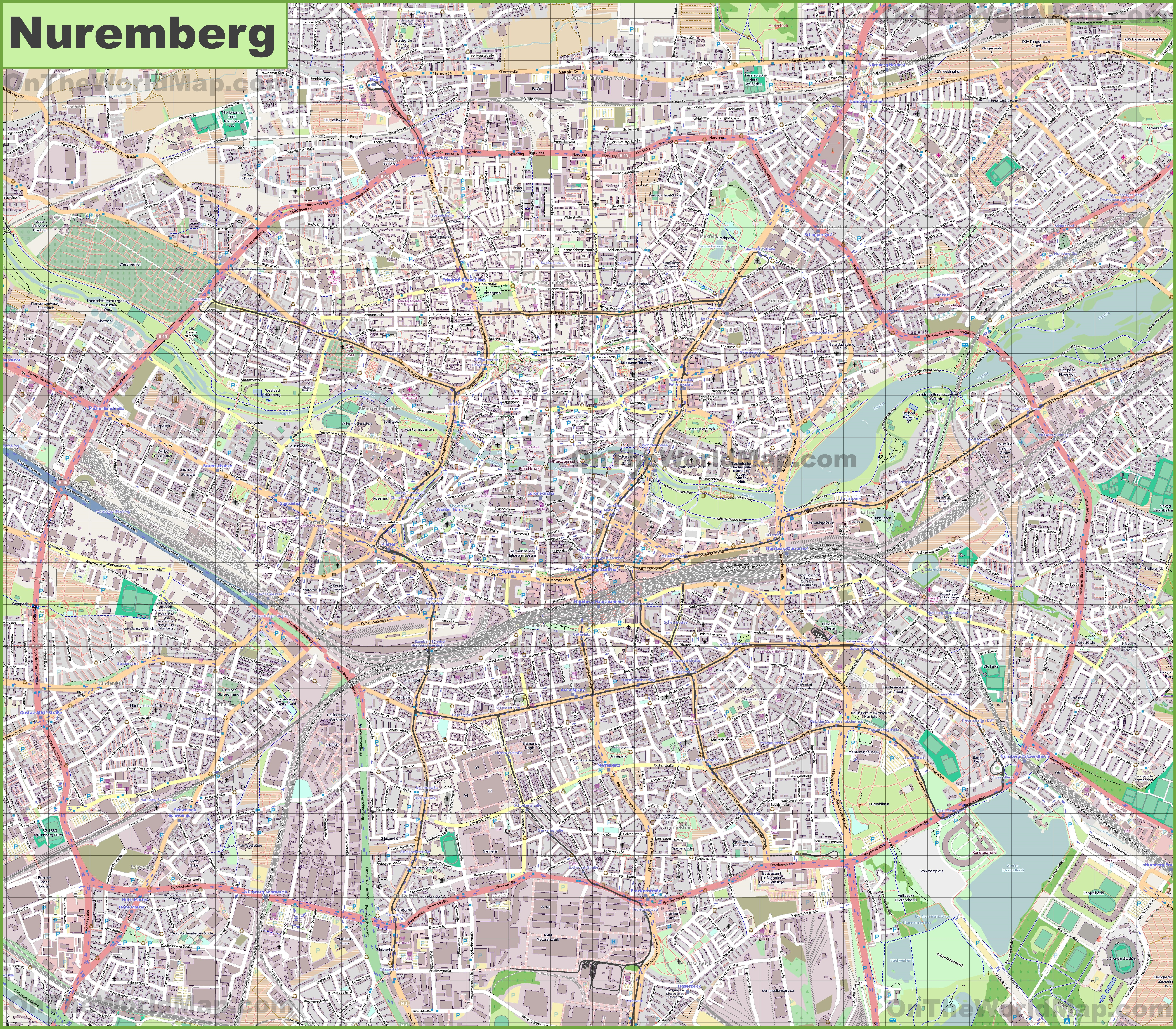 Large detailed map of Nürnberg