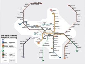 Nürnberg metro and train map