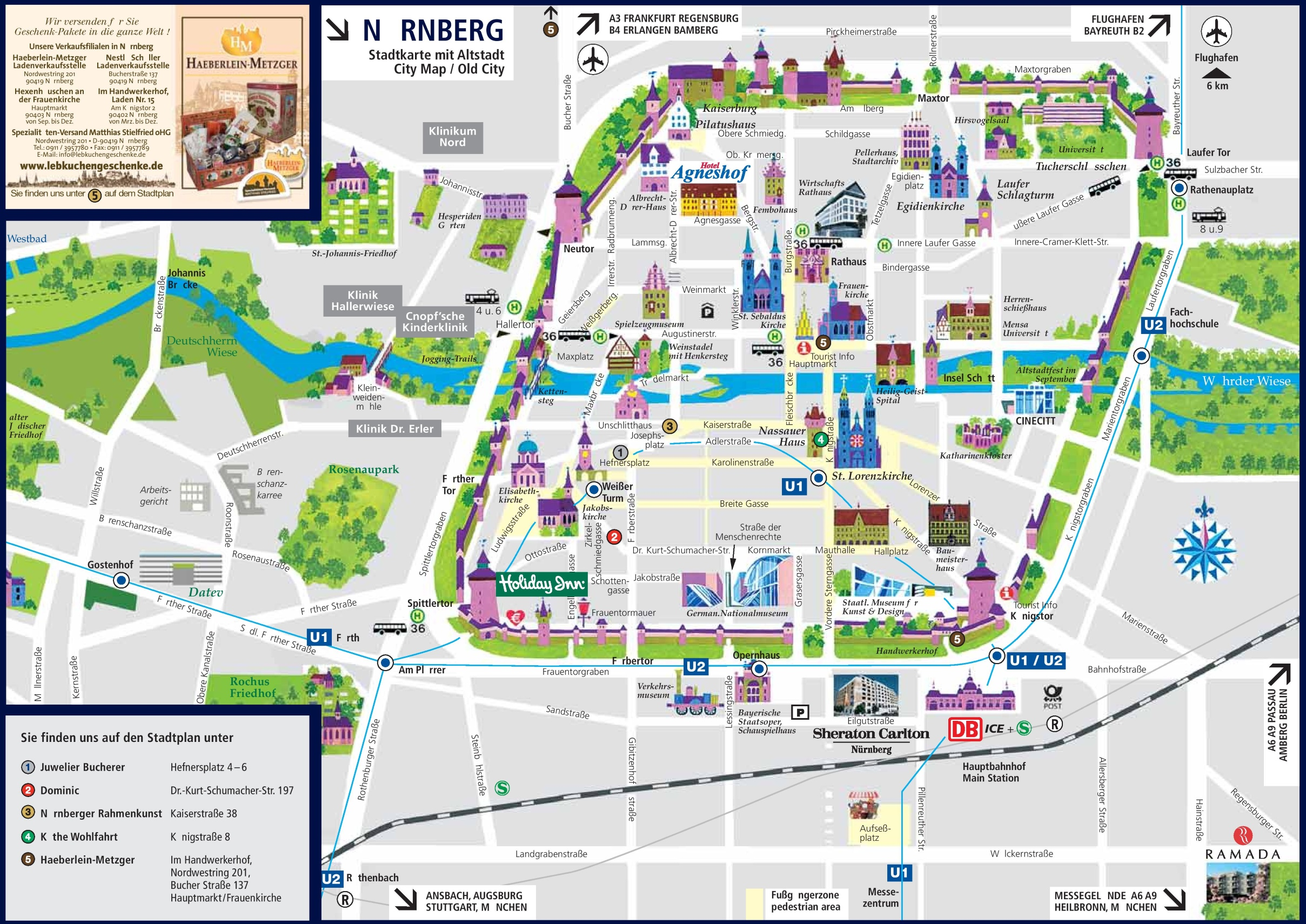 N rnberg sightseeing map – Nuremberg Tourist Map