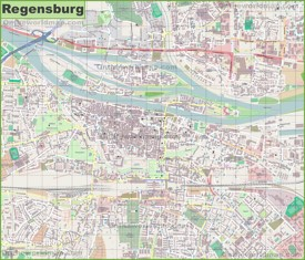 Large detailed map of Regensburg