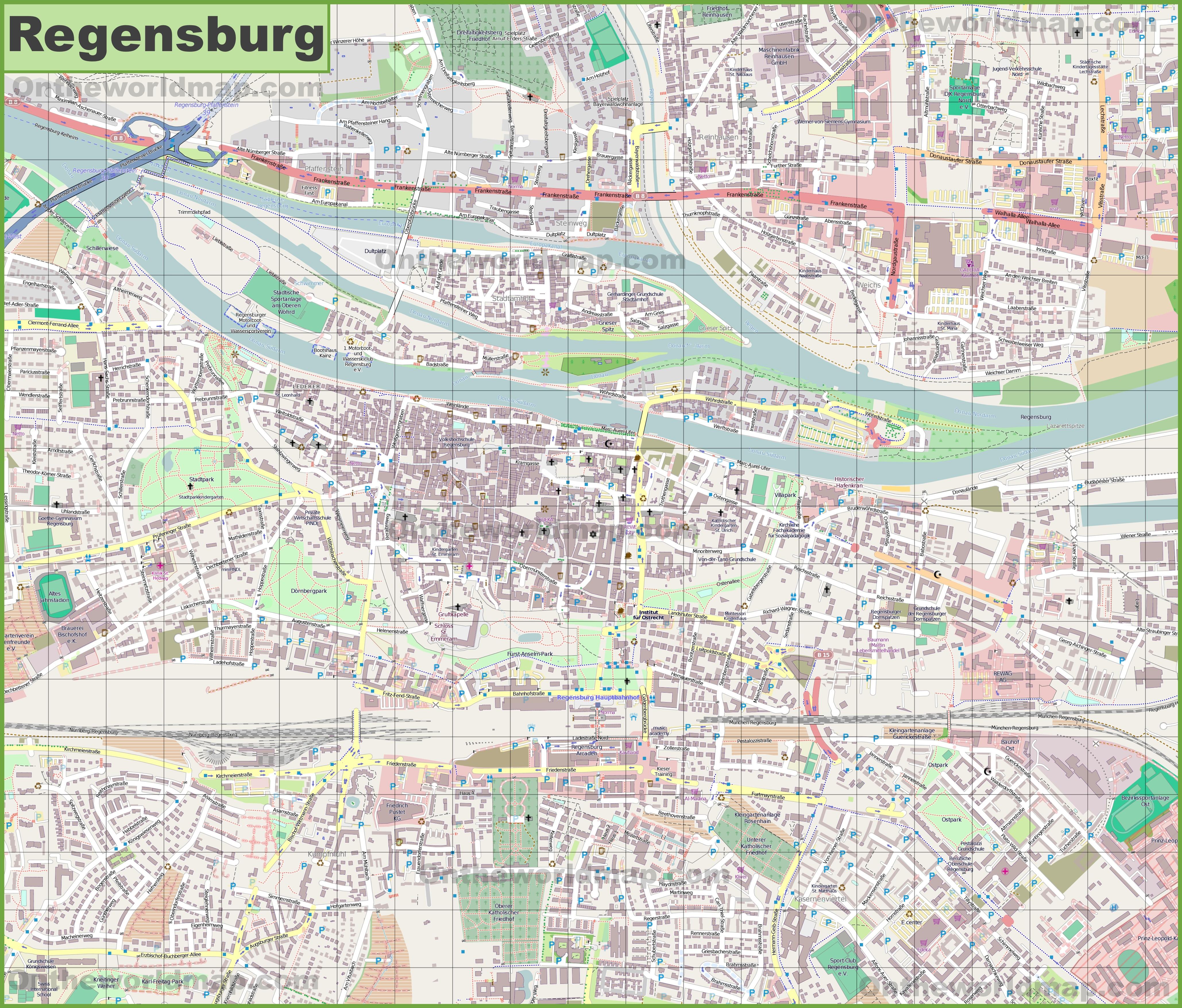 Large detailed map of Regensburg