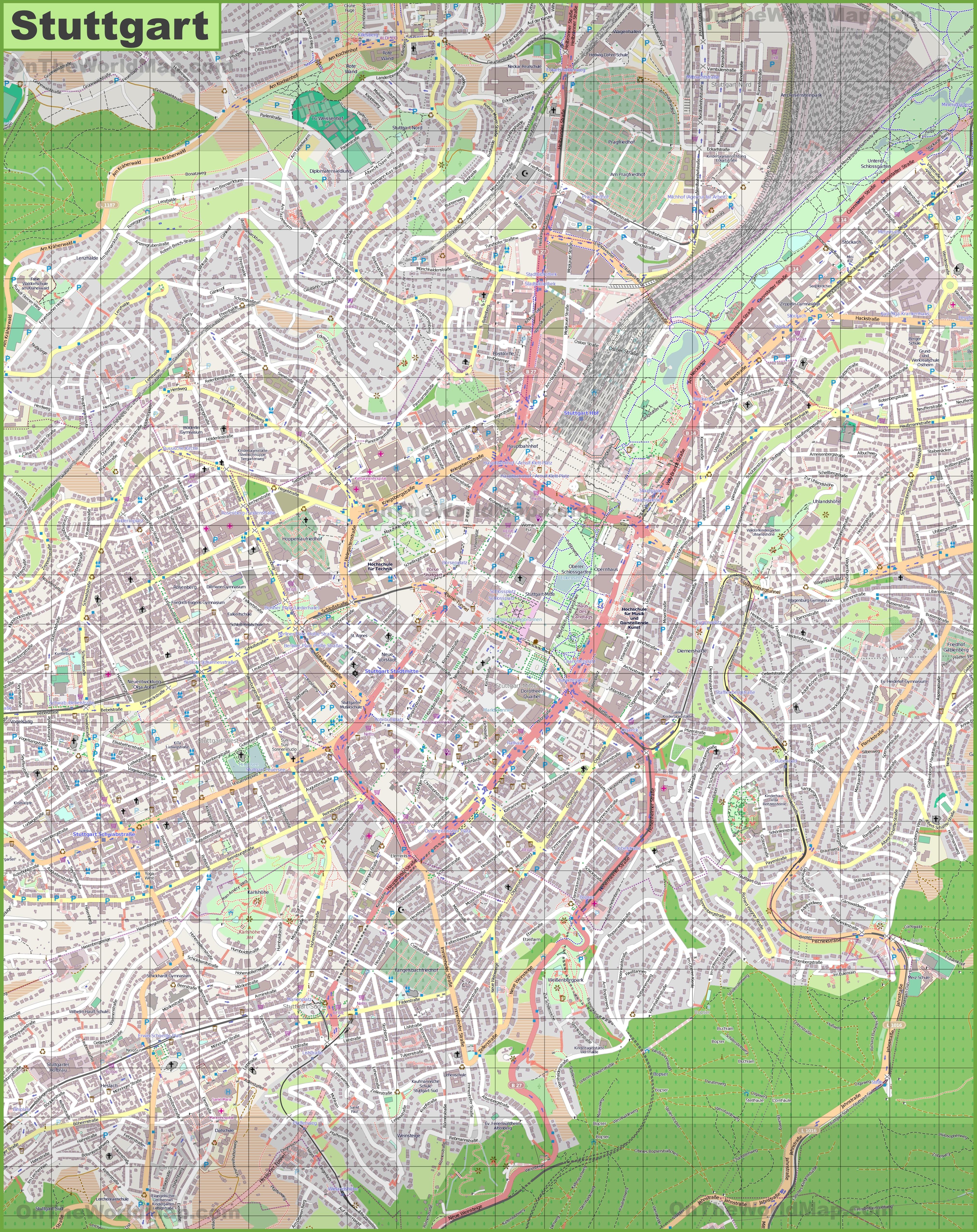 Large detailed map of Stuttgart