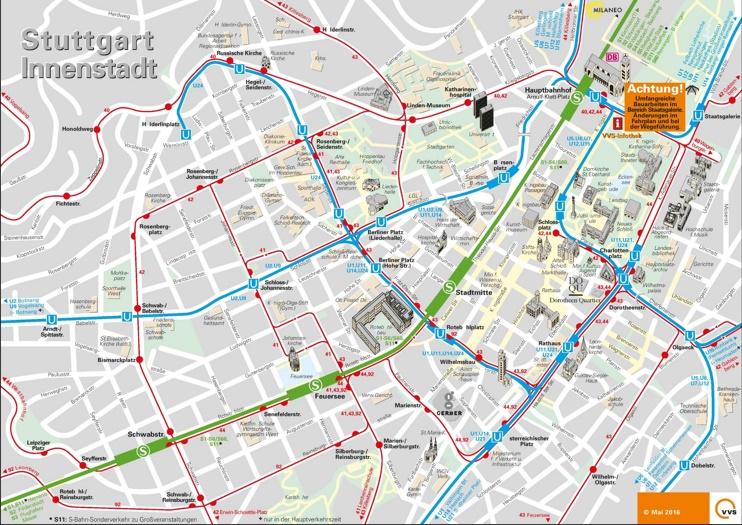 Stuttgart city center map