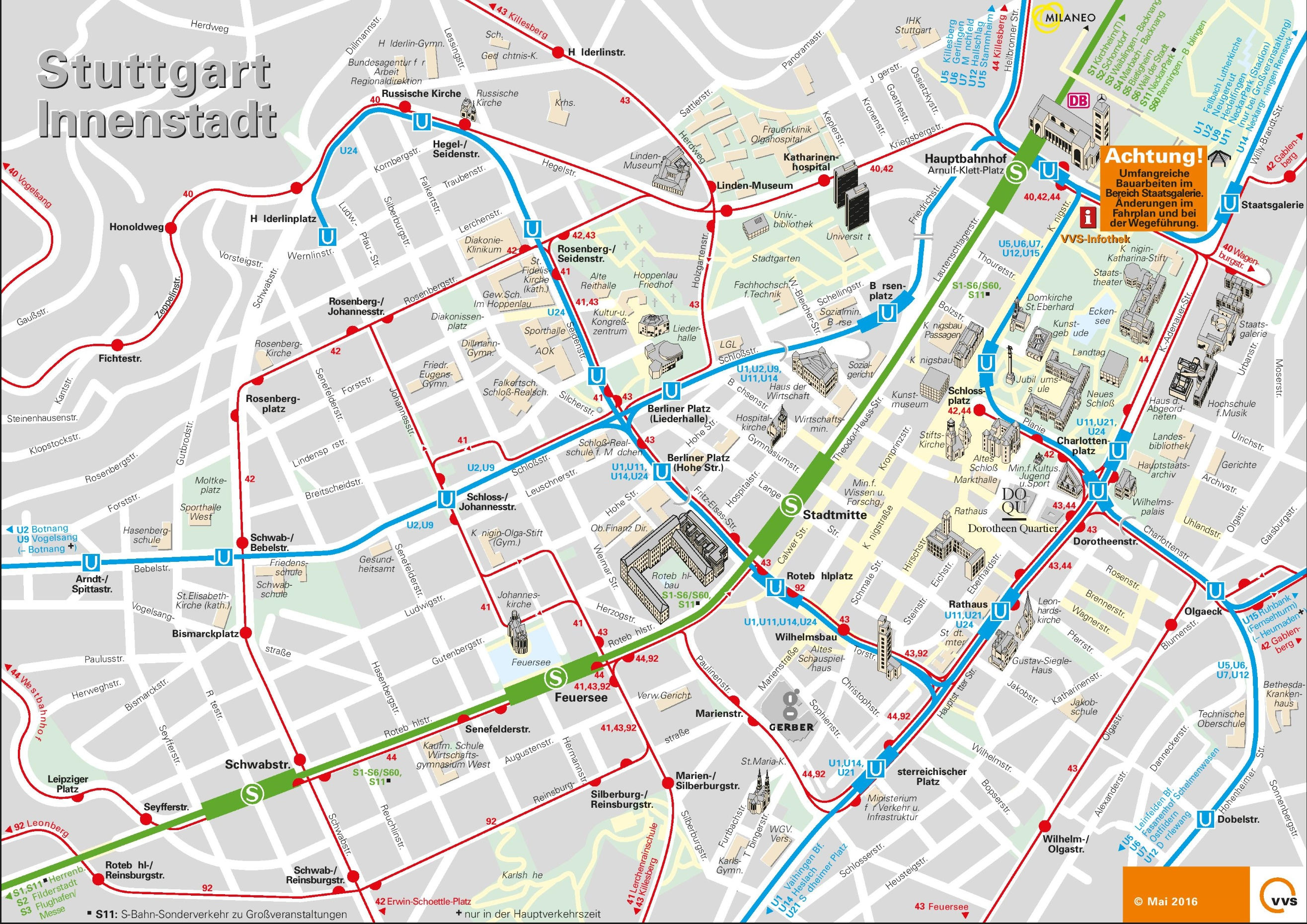 Stuttgart city center map