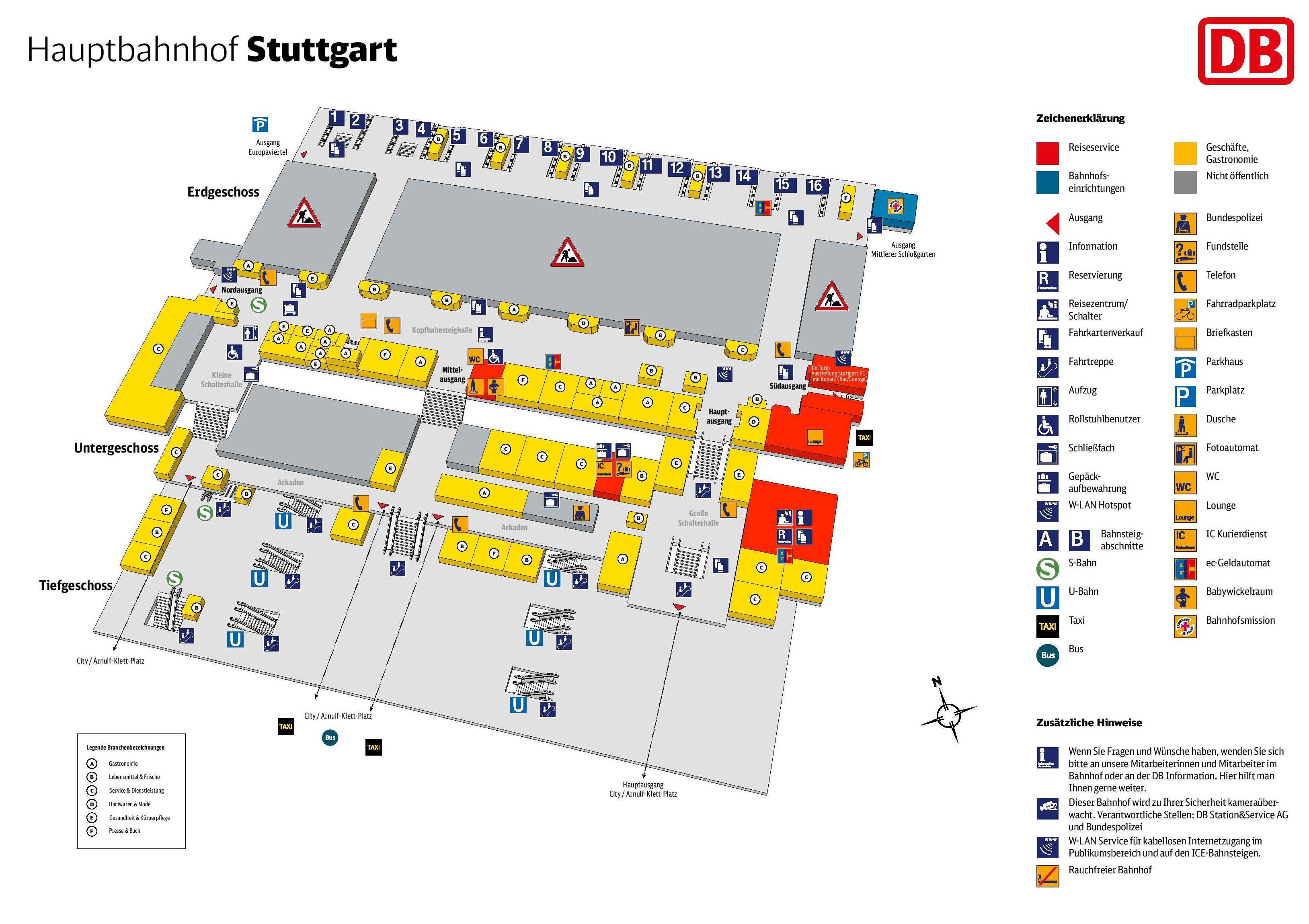 Stuttgart hauptbahnhof map central train station