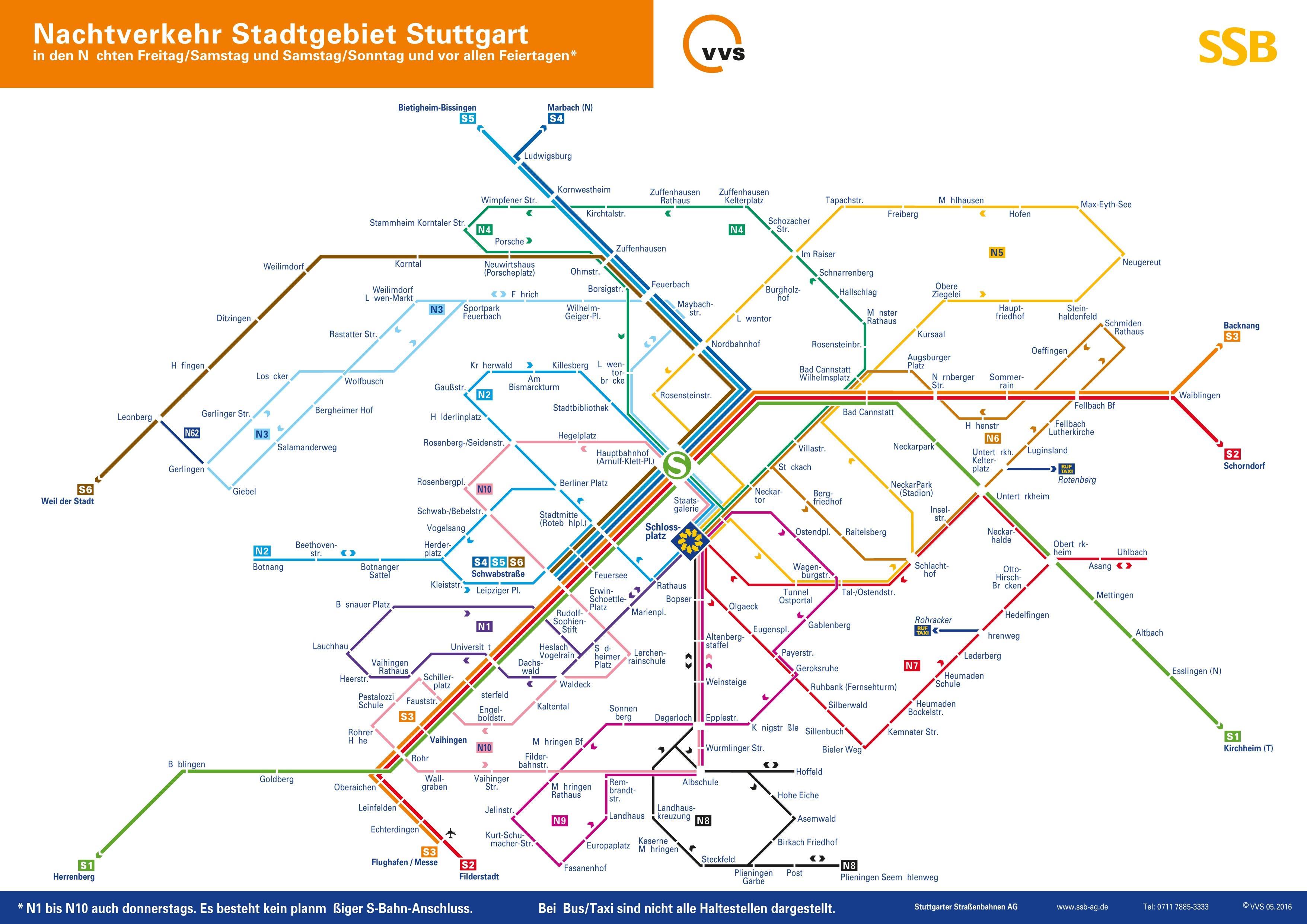 Stuttgart night SBahn map